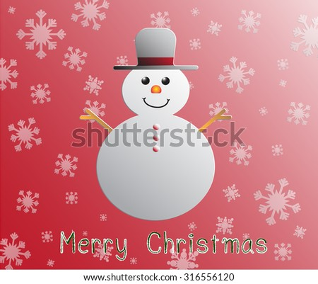 merry christmas card with snow man on red backgrund.