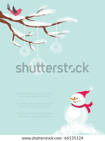 Merry Christmas card with snowman - stock vector
