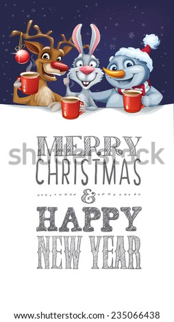 Merry Christmas card with Snowman, Reindeer and Rabbit hot drink
