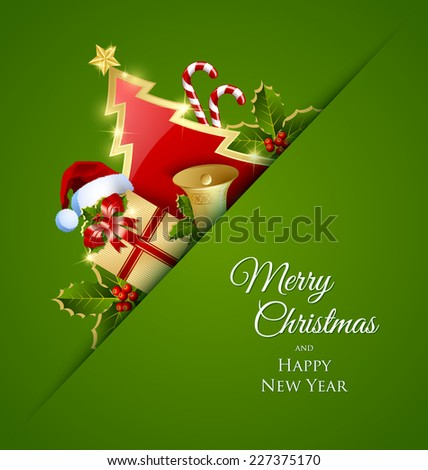 Merry Christmas card with traditional decorations placed on green background - stock vector