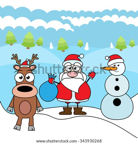 Merry Christmas cartoon vector illustration isolated on white background. Reindeer, Santa Claus and Snowman - stock vector