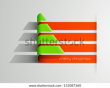 Merry Christmas celebration background with stylize Xmas tree made from fold stripes.  - stock vector