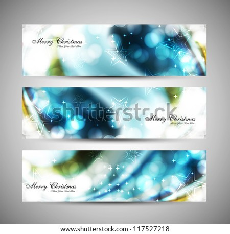 merry christmas celebration blue header set vector - stock vector