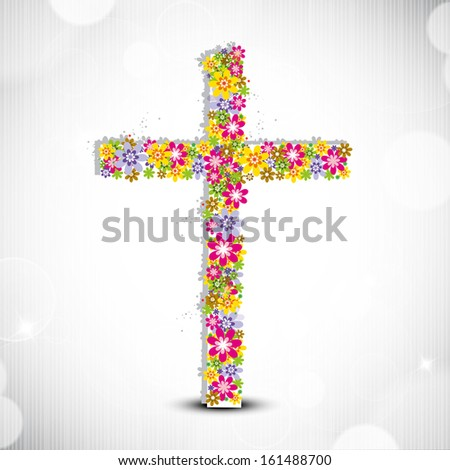 Merry Christmas celebration concept with floral decorated Christian Cross on shiny grey background. 	 - stock vector