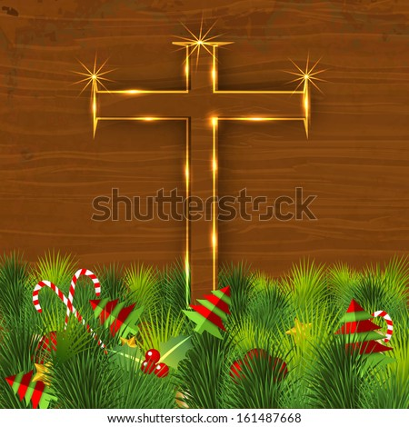 Merry Christmas celebration concept with golden wooden Christian Cross on green grass background with little Xmas trees.  - stock vector