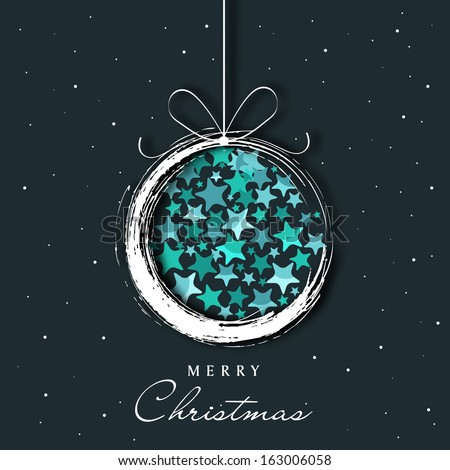 Merry Christmas celebration concept with hanging Xmas ball made by shiny blue stars in the night background, can be use as flyer, banner or poster.  - stock vector