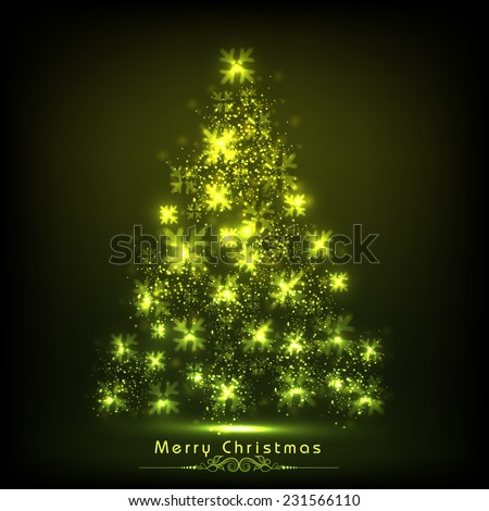 Merry Christmas celebration concept with stars decorated X-mas tree on shiny green background.