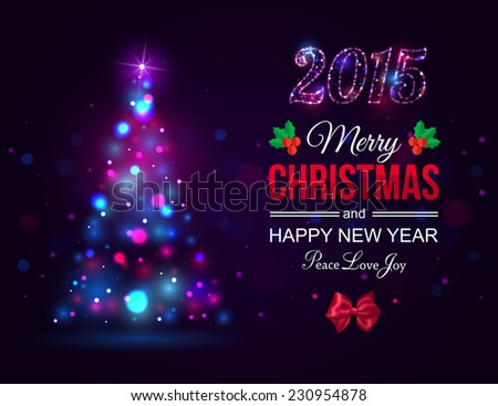 Merry Christmas 2015 celebration concept with xmas tree lights, red bow and place for text. Shining Christmas typographical background. Vector illustration. - stock vector