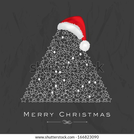 Merry Christmas celebration flyer, banner, poster or invitation with shiny floral decorated Xmas tree and Santa Hat on grungy grey background.  - stock vector