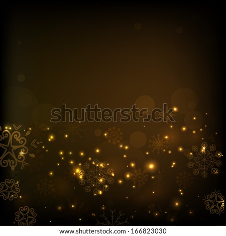 Merry Christmas celebration flyer, banner, poster or invitation with shiny golden wave on brown background.