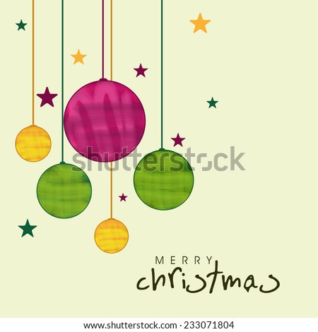 Merry Christmas celebration greeting card decorated with colorful hanging X-mas ball and stars.  - stock vector