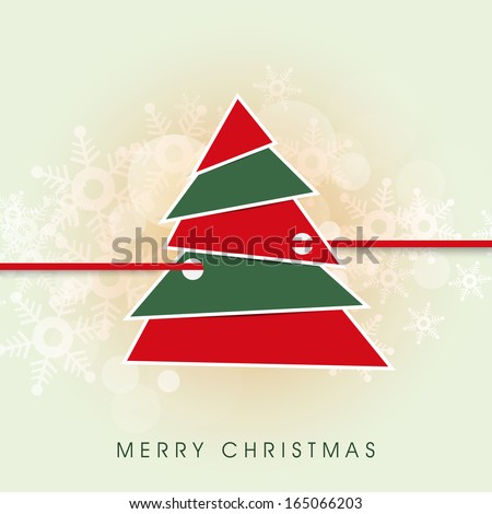 Merry Christmas celebration greeting card or invitation card with stylish colorful Xmas tree on snowflakes decorated green background.