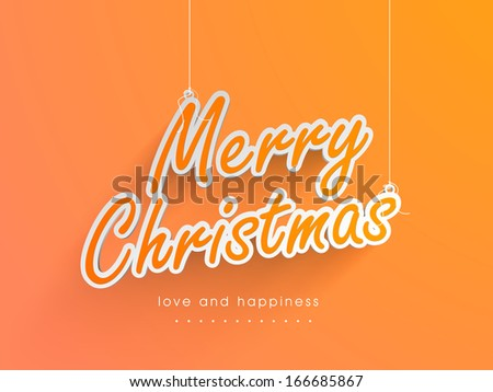 Merry Christmas celebration greeting card or invitation card with stylish text on bright yellow background.