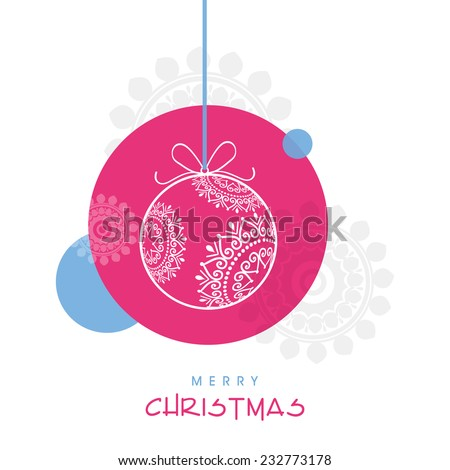 Merry Christmas celebration poster design with floral decorated X-mas ball hanging on creative background. - stock vector