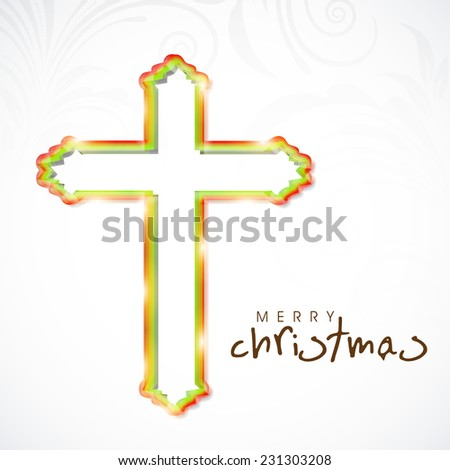 Merry Christmas celebration with Christian Cross on floral decorated grey background, can be use as poster, flyer or banner. - stock vector