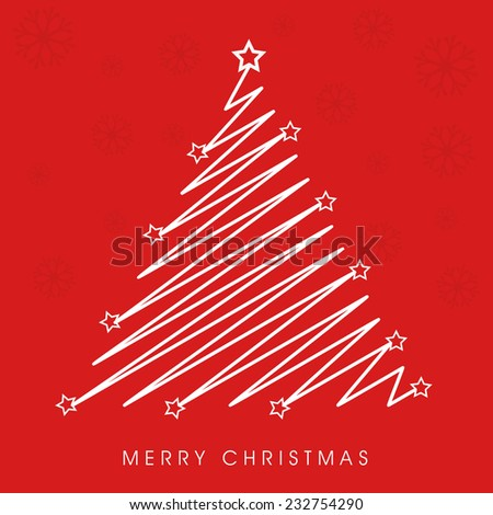 Merry Christmas celebration with creative stylish X-mas tree on snowflake decorated red background. - stock vector