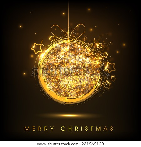 Merry Christmas celebration with shiny golden X-mas ball on brown background. - stock vector