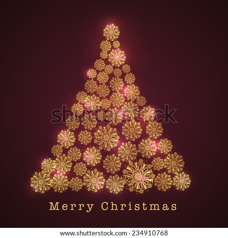 Merry Christmas celebration with snowflakes decorated beautiful shiny X-mas Tree on shiny brown background. - stock vector