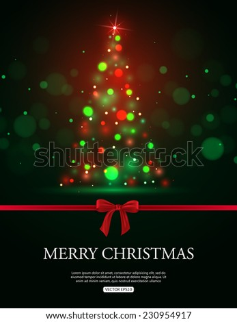 Merry Christmas celebration with tree lights, red bow and place for text. Vector illustration
