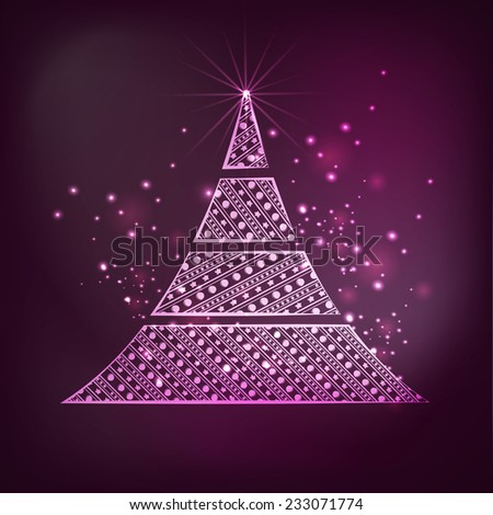 Merry Christmas celebrations greeting card decorated with beautiful X-mas Tree on shiny purple background. - stock vector