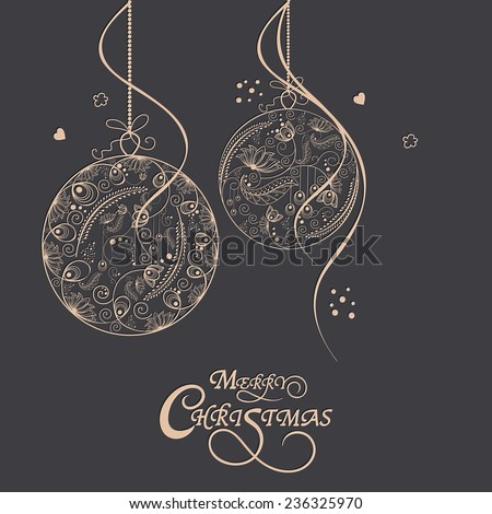 Merry Christmas celebrations greeting card design with floral design decorated X-mas Balls on grey background. - stock vector