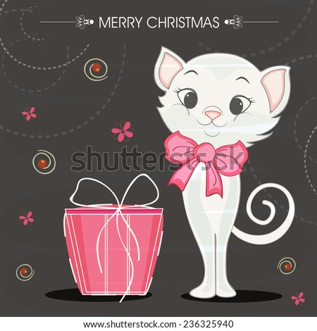 Merry Christmas celebrations with cute cat in bow and pink gift box on stylish background. - stock vector