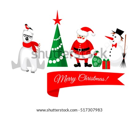 Merry Christmas characters: Santa Claus, White Bear with a bullfinch on its head and a Snowman near Christmas tree isolated on white background. Vector illustration
