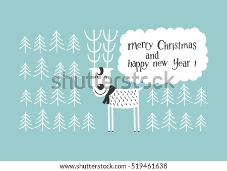 Merry Christmas - christmas and new year greeting card. Deer in winter forest