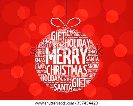 MERRY CHRISTMAS, Christmas ball word cloud, holidays lettering collage - stock vector