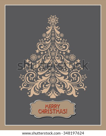 Merry Christmas. Christmas Greeting Card. Celebration Vintage background with Christmas tree and place for your text. Vector Illustration