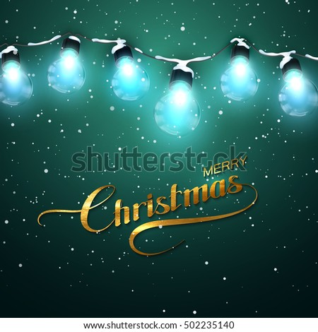 Merry Christmas. Christmas Lights With Snow. Vector Holiday Illustration of Luminous Electric Garland and Golden Merry Christmas Label