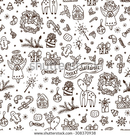 Merry Christmas. Christmas seamless pattern. Holiday background. Endless texture. Hand Drawn Doodles illustration. Black and white. - stock vector