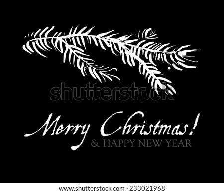 Merry Christmas. Christmas sketch black & white design card. Vector illustration - stock vector