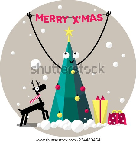 Merry christmas, christmas tree decorations - stock vector