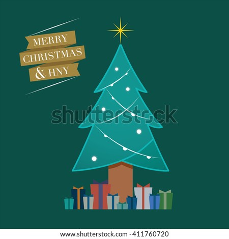 Merry Christmas, Christmas Tree Shape, X'mas gift - stock vector