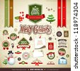 Merry Christmas collections design, message, ribbons, label, snowman, trees, Envelope letter and staff, vector illustration - stock vector