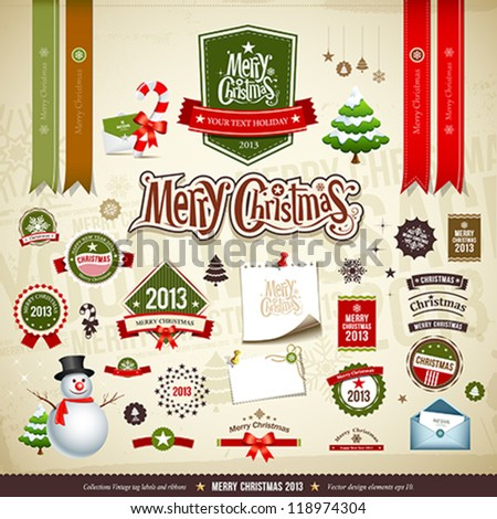 Merry Christmas collections design, message, ribbons, label, snowman, trees, Envelope letter and staff, vector illustration