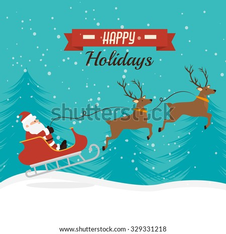 Merry christmas colorful card design, vector graphic. - stock vector