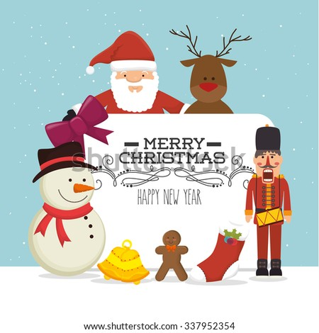 Merry christmas colorful card design, vector illustration eps 10 - stock vector