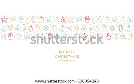 merry christmas colorful icon elements card white background