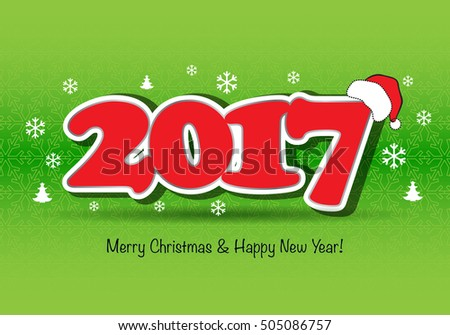 Merry Christmas 2017 colorful wallpaper, welcome 2017.