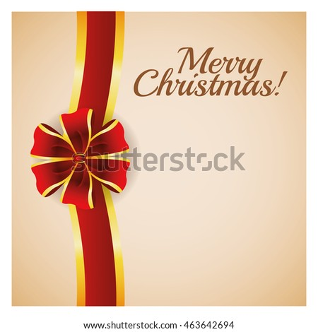 Merry Christmas concept represented by red ribbon icon over pastel brown background. Colorfull and classic illustration inside frame.
