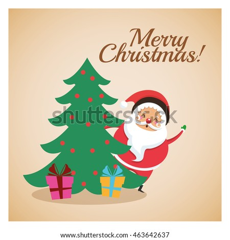 Merry Christmas concept represented by santa and pine tree icon over pastel brown background. Colorfull and classic illustration inside frame.