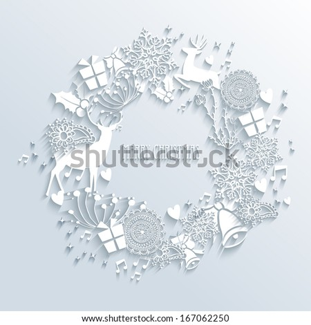Merry Christmas contemporary wreath made with 3d season white elements. EPS10 vector illustration with transparency layers. - stock vector