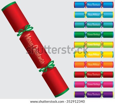 Merry Christmas cracker set in vector format. - stock vector