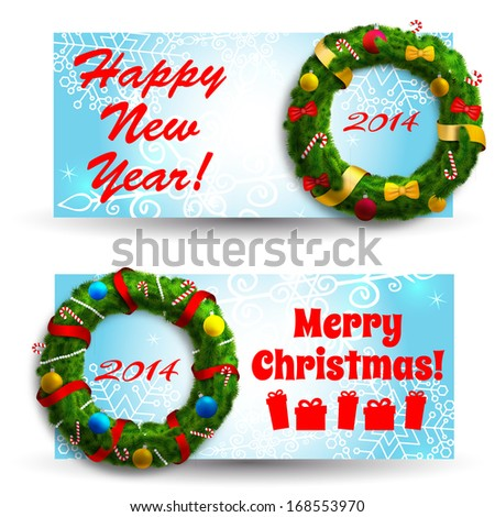 Merry Christmas creative banners set. Vector Illustration, eps10, contains transparencies. - stock vector
