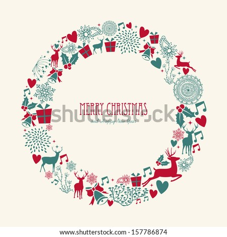 Merry Christmas decoration elements circle mistletoe composition. Vector file organized in layers for easy editing.  - stock vector