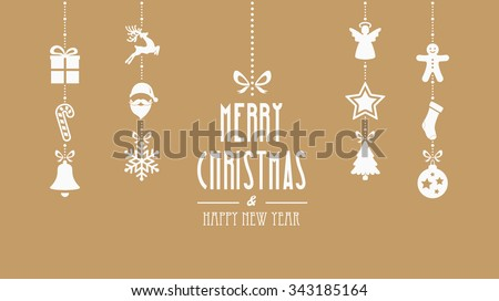 merry christmas decoration elements hanging gold background - stock vector