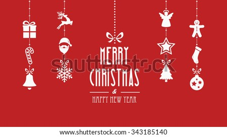 merry christmas decoration elements hanging red background - stock vector