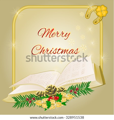Merry Christmas decoration  frame with book  and pine cones and yew vector illustration   - stock vector